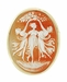"""Three Graces""  Carnelian Shell Cameo Pin or Pendant in 14 Karat Gold"