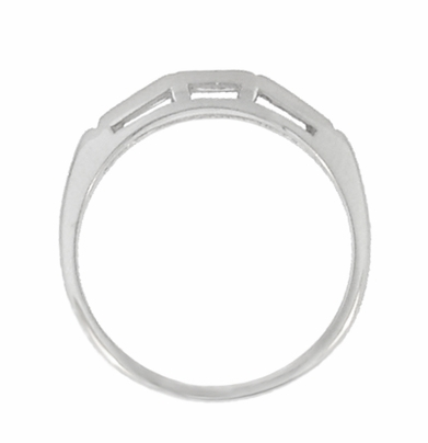 """Three Stone"" Baguette Diamond Wedding Band in 14 Karat White Gold - Item R982 - Image 2"