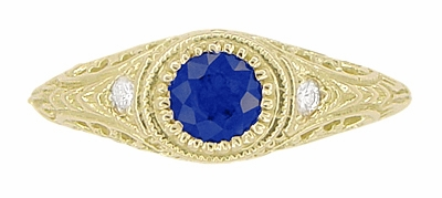 Art Deco Engraved Sapphire and Diamond Filigree Engagement Ring in 18 Karat Yellow Gold - Item R138Y - Image 4