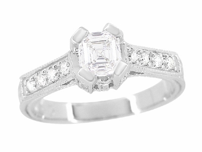 Art Deco 1/2 Carat Asscher Cut Diamond Engagement Ring in 18 Karat White Gold | Vintage Style Heirloom - Item R396AS - Image 1