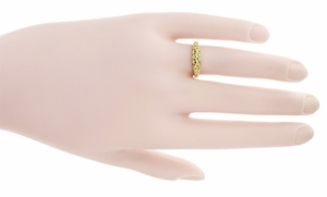 Art Deco Filigree Wedding Ring in 14 Karat Yellow Gold - Item WR428Y - Image 5