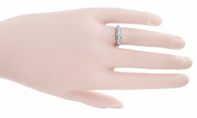 Art Deco Filigree Wedding Ring in 14 Karat White Gold - Item WR428W - Image 5