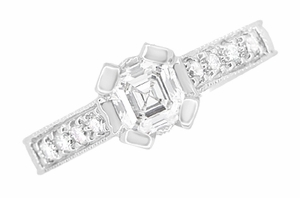 Art Deco 1/2 Carat Asscher Cut Diamond Engagement Ring in 18 Karat White Gold | Vintage Style Heirloom - Item R396AS - Image 3