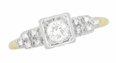 Art Deco Diamond Antique Engagement Ring in 14 Karat White and Yellow Gold | 1930s Heirloom Ethical Diamond Engagement Ring - Item R771 - Image 2