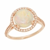 Translucent Opal Halo Ring in 14 Karat Rose Gold with Diamonds - Grisey's Ring