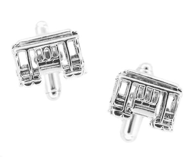 Trolley Car Cufflinks in Sterling Silver