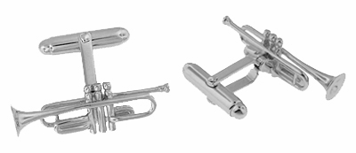 Trumpet Cufflinks in Sterling Silver - Item SCL188 - Image 1