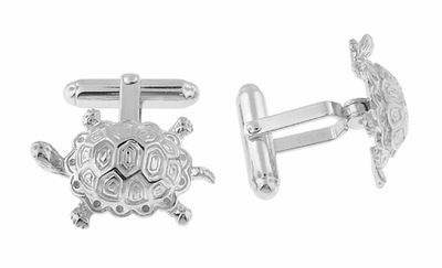 Turtle Cufflinks in Sterling Silver - Item SCL129 - Image 1
