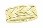 Unbroken Leaves Heavy 8mm Wide Wedding Band in 14K Yellow Gold | Art Nouveau Ring