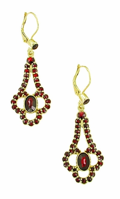 Victorian Bohemian Garnet Drop Earrings in 14 Karat Yellow Gold and Sterling Silver Vermeil - Item E140 - Image 1
