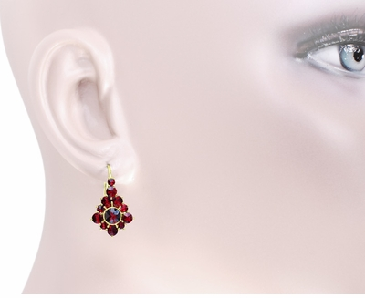Victorian Bohemian Garnet Earrings in 14 Karat Yellow Gold and Sterling Silver Vermeil - Item E144 - Image 2