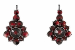 Victorian Bohemian Garnet Earrings in Antiqued Sterling Silver