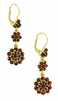 Victorian Bohemian Garnet Floral Double Drop Earrings in 14 Karat Yellow Gold and Sterling Silver Vermeil - Item E147 - Image 1
