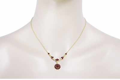 Victorian Bohemian Garnet Floral Drop Necklace in Sterling Silver and Yellow Gold Vermeil - Item NBG123 - Image 2