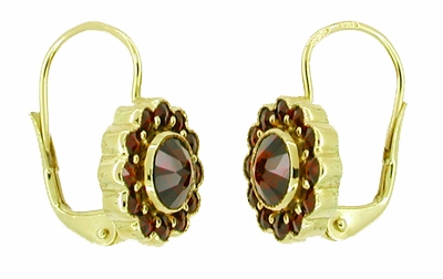 Victorian Bohemian Garnet Floral Earrings in 14 Karat Gold and Sterling Silver Vermeil - Item E142 - Image 1