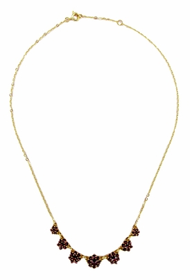 Victorian Bohemian Garnet Floral Necklace in Yellow Gold Vermeil Over Sterling Silver - Item N113 - Image 1