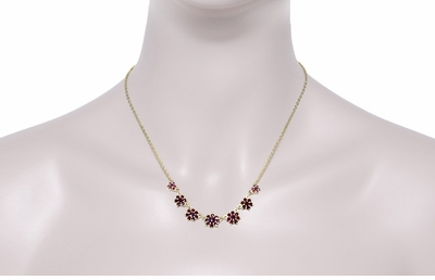 Victorian Bohemian Garnet Floral Necklace in Yellow Gold Vermeil Over Sterling Silver - Item N113 - Image 2