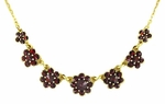Victorian Bohemian Garnet Flowers Necklace in Sterling Silver Vermeil