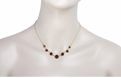 Victorian Bohemian Garnet Flowers Necklace in Sterling Silver with Yellow Gold Vermeil - Item N178 - Image 2