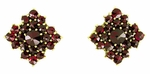 Victorian Bohemian Garnet Galaxy Stud Earrings in 14 Karat Yellow Gold and Sterling Silver Vermeil