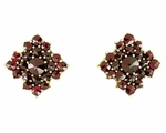 Victorian Bohemian Garnet Galaxy Square Stud Earrings in 14 Karat Yellow Gold and Sterling Silver Vermeil