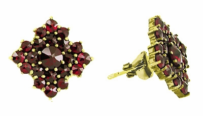 Victorian Bohemian Garnet Galaxy Stud Earrings in 14 Karat Yellow Gold and Sterling Silver Vermeil - Item E143S - Image 1