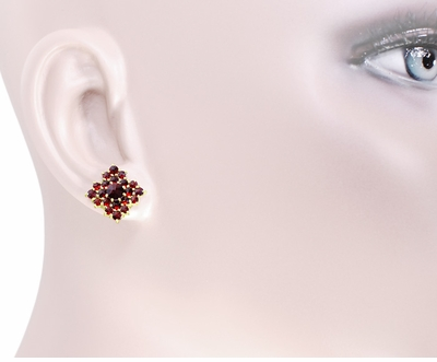 Victorian Bohemian Garnet Galaxy Square Stud Earrings in 14 Karat Yellow Gold and Sterling Silver Vermeil - Item E143S - Image 2