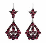Victorian Bohemian Garnet Leaf Drop Earrings in Antiqued Sterling Silver