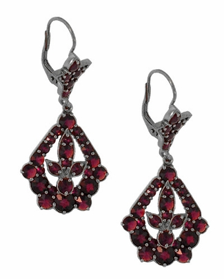Victorian Bohemian Garnet Leaf Drop Earrings in Antiqued Sterling Silver - Item E139 - Image 1