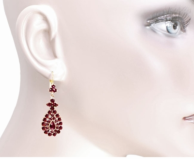 Victorian Bohemian Garnet Teardrop Earrings in 14 Karat Yellow Gold and Sterling Silver Vermeil - Item E164S - Image 2