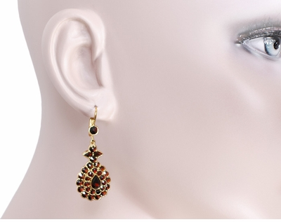 Victorian Bohemian Garnet Teardrop Earrings in 14K Yellow Gold and Sterling Silver Vermeil - Item E180 - Image 3
