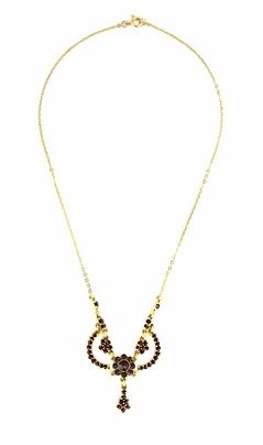 Victorian Bohemian Garnets Teardrop Necklace in Sterling Silver with Yellow Gold Vermeil - Item N180 - Image 1