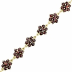 Victorian Bohemian Garnet Floral Bracelet in Sterling Silver Vermeil | 1900s Antique Reproduction Bracelet