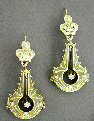 Victorian Diamond Double Dangle Drop Earrings in 14 Karat Yellow Gold