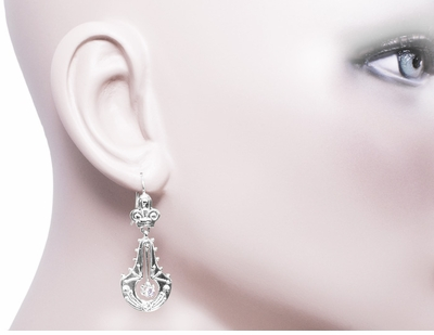 Victorian Diamond Double Dangle Drop Earrings in 14 Karat White Gold - Item E124W - Image 1