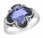 Victorian Emerald Cut Iolite Ring in 14 Karat White Gold