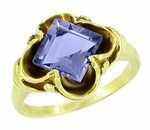 Victorian Emerald Cut Iolite Ring in 14 Karat Yellow Gold