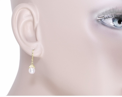 Victorian Engraved Leaves Pearl Drop Earrings in 14 Karat Yellow Gold - Item E134 - Image 2