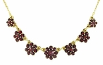 Victorian Flowers Bohemian Garnet Necklace in Sterling Silver Vermeil