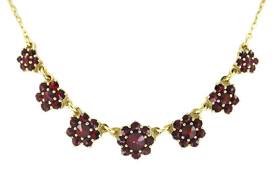 Victorian Flowers Bohemian Garnet Necklace in Yellow Gold Vermeil Over Sterling Silver