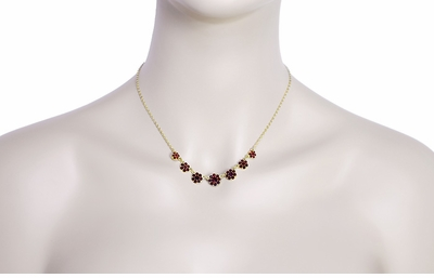 Victorian Flowers Bohemian Garnet Necklace in Yellow Gold Vermeil Over Sterling Silver - Item N179 - Image 2