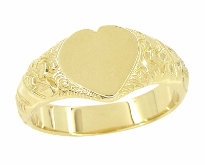 Victorian Heart Shape Scrolls and Flowers Heavy Signet Ring in 14K Yellow Gold For a Man - Item R659 - Image 1
