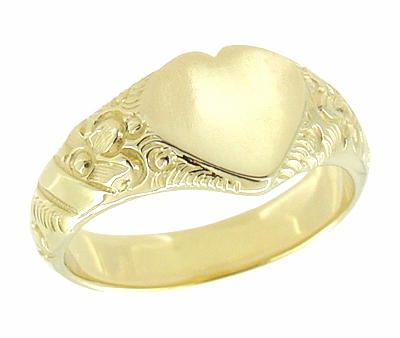 Victorian Heart Shape Scrolls and Flowers Heavy Signet Ring in 14K Yellow Gold For a Man - Item R659 - Image 2