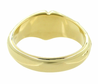 Victorian Heart Shape Scrolls and Flowers Heavy Signet Ring in 14K Yellow Gold For a Man - Item R659 - Image 3