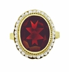 Victorian Oval Almandite Garnet and Seed Pearl Ring in 14 Karat Gold