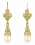Victorian Fleur de Lys Pearl Drop Earrings in 14 Karat Yellow Gold