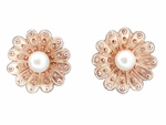 Victorian Sunflower 14 Karat Rose Gold Pearl Stud Earrings