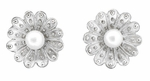 Victorian Pearl Sunflower Earrings in 14 Karat White Gold