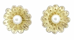 Victorian Pearl Sunflower Earrings in 14 Karat Yellow Gold