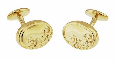 Victorian Scrolls and Fleur-de-Lis Engravable Cufflinks in Solid Sterling Silver with Yellow Gold Vermeil - Item SCL229Y - Image 2